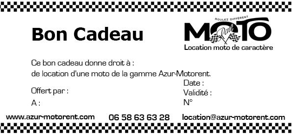 Chèque cadeau location moto